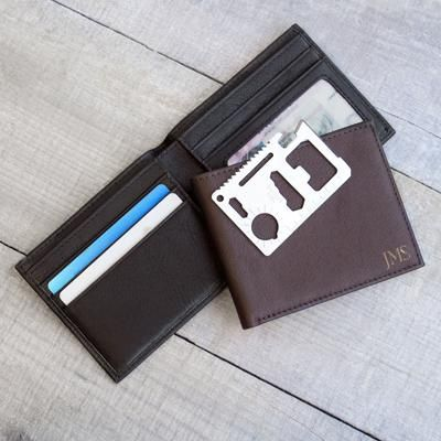 Personalized RFID Bi-Fold Wallet with Multi-function Tool