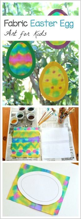 Fabric Easter Egg Suncatcher Art for Kids: Paint on fabric to make this fun and colorful spring art for kids! - BuggyandBuddy.com