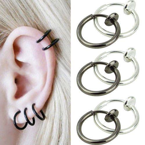 1Pcs Unisex Punk Goth Clip-on Hoop Body Nose Lip Ear Piercing Ring Stud Earring #dallasdealca