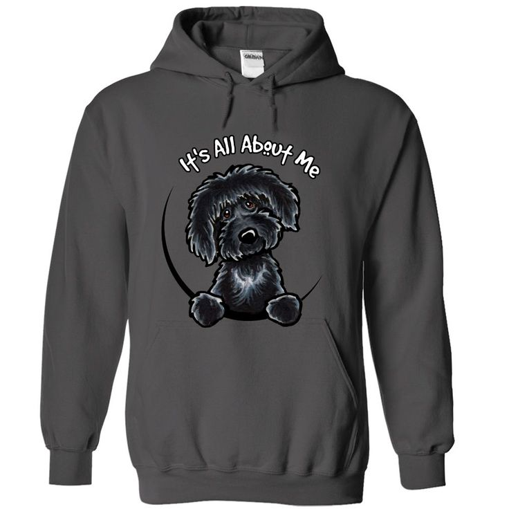 Black Labradoodle Its all about me T-Shirts, Hoodies. CHECK PRICE ==► https://www.sunfrog.com/No-Category/Black-Labradoodle-It-Charcoal-Hoodie.html?id=41382