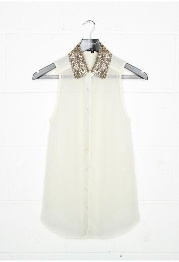 sheer sleeveless collared shirt ❤Sequins Collars, Peter Pan Collars, Fashion Forward, Sparkly Collars, Sparkle Collars, Vest Blouses, Dreams Closets, Collars Shirts, Collars Vest