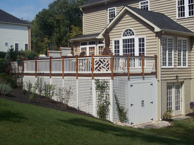 Our deck is high like this and we're thinking of putting in a shed under it - this is a great one that would fit our deck design.