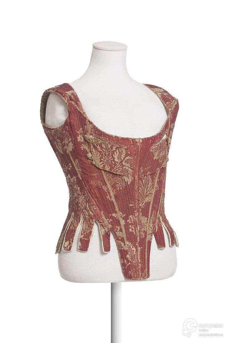 Silk damask stays, 1740-60, Europeana Fashion.