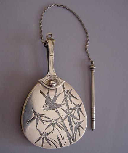 VICTORIAN sterling Niello Aesthetic fan-shaped aide memoire with etched birds and bamboo design, 3 by 1-3/4 fan and 2 pencil.