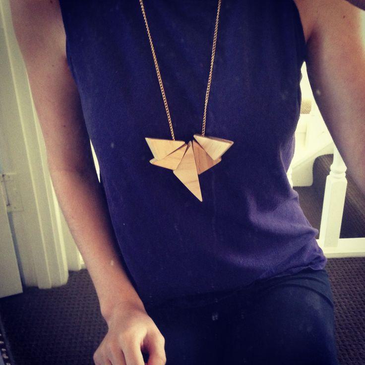 #raw #wood #handmade #necklace #jigsaw #triangle #jewellery #style #fashion #accessory