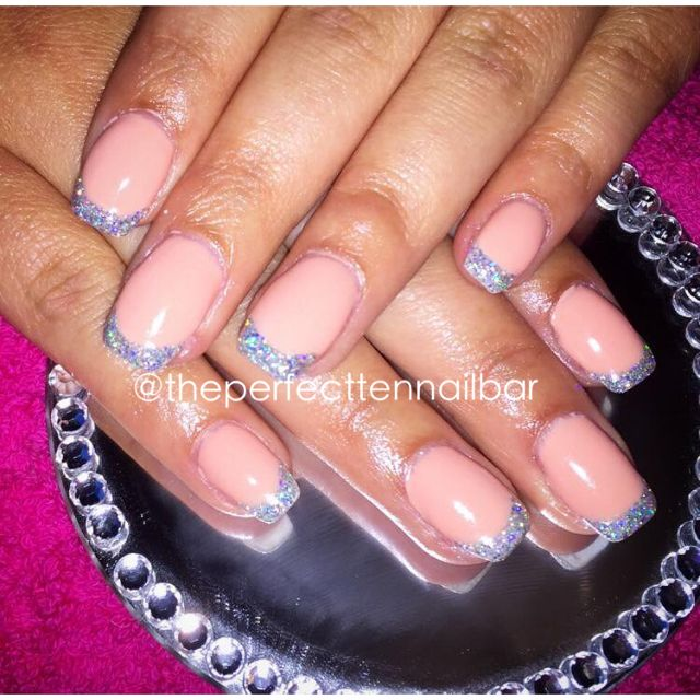 Nude, silver, french, gel polish, acrylic nails, glitter, bling, sparkle nails, lechat, nsi.