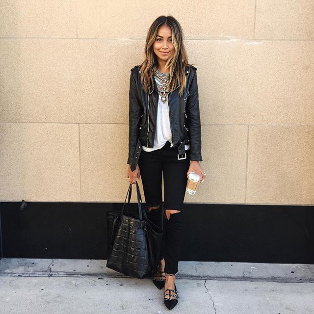 On Mondays we wear black.    @shop_sincerelyjules jeans, @thekooplesofficial leather jacket, @givenchyofficial flats, Celine tote