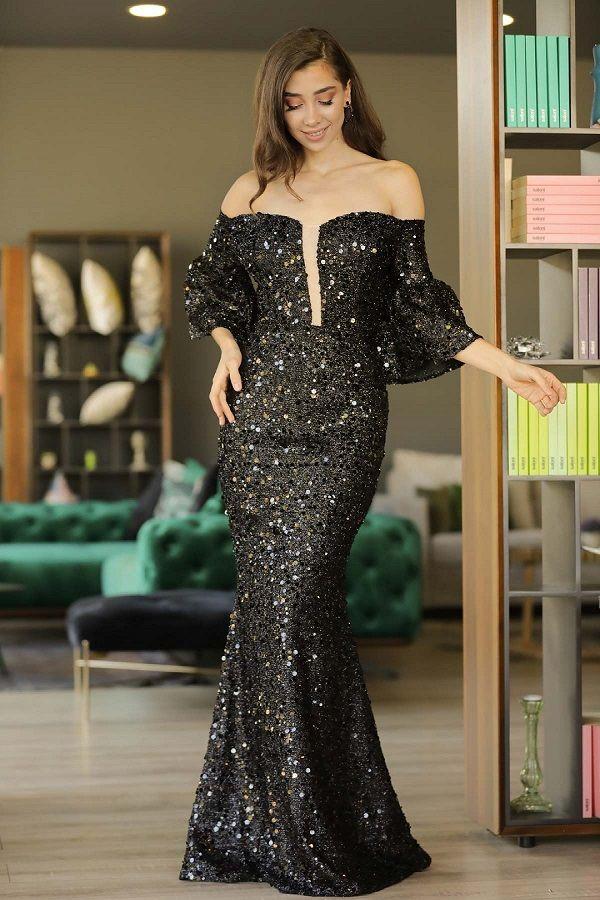 فستان سهرة أسود برقبة بدون أكتاف موديل سمكة Fashion Fashion Magazine Fashion 2020