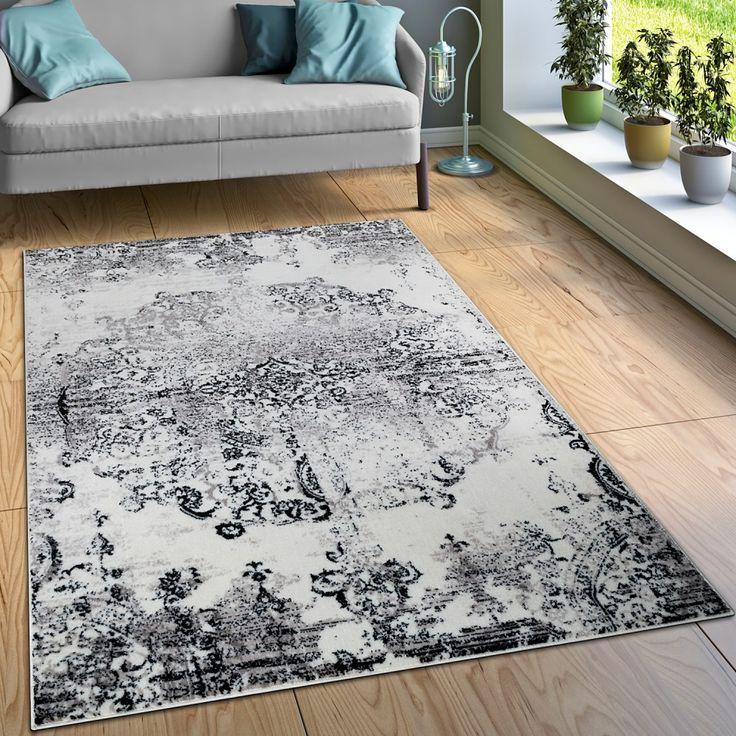 Designer Teppiche für das Wohnzimmer gibt es bei Teppichcenter24.....Ornamente in Vintage-Optik (Schwarz-Weiß)