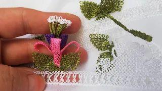 Iğne oyası Küpe çiçeği yapılışı – YouTube