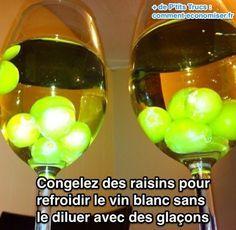 La solution ? Certainement pas des glaçons, car ça va diluer le vin. L'astuce pour garder un verre de vin blanc frais plus longtemps est d'utiliser des raisins congelés :-)  Découvrez l'astuce ici : http://www.comment-economiser.fr/garder-verre-vin-blanc-frais-longtemps.html?utm_content=buffer4c8ca&utm_medium=social&utm_source=pinterest.com&utm_campaign=buffer