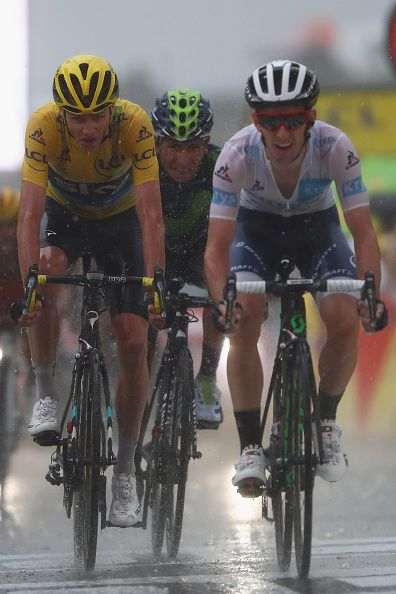#TDF2016 Chris Froome of Great Britain and Team Sky looks ahead as Adam Yates of Great Britain and Orica Bike Exchange finishes ahead during the 1845 km stage...