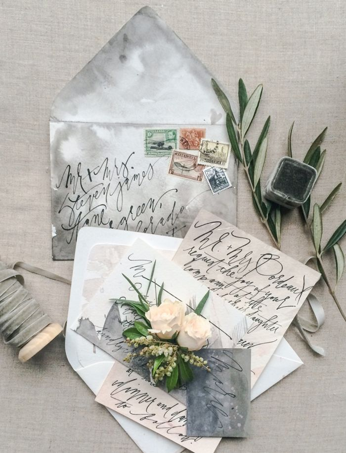 Gray wedding stationery
