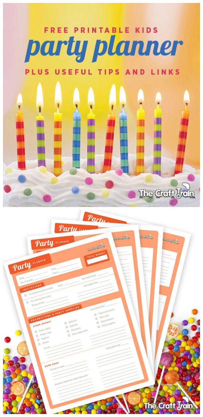 kids' party planner - free printable covering budget, invitations, decorations, cake, and party favors from @The Craft Train