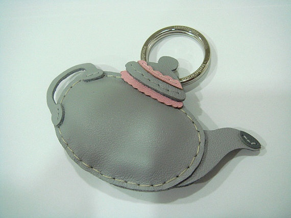 Leather Keychain  Teapot leather charm  Grey  by leatherprince, $22.90