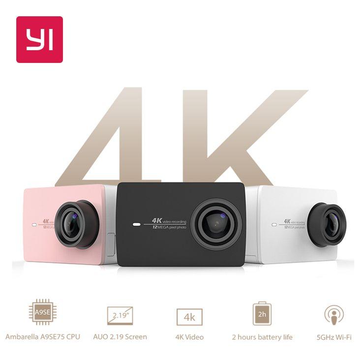 "YI 4K Action Camera Bundle 2.19"" LCD Tough Screen 155 Degree EIS Wifi Black International Edition Ambarella A9SE75 12MP CMOS"