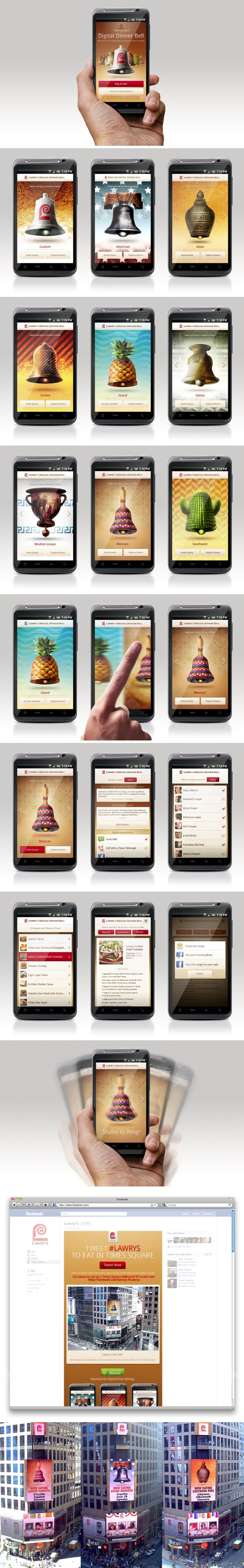 Lawry's Digital Dinner Bell by Adam Jesberger, via Behance *** Lawry's Digital Dinner Bell app for Android gives you a playful modern way to notify your dinner guests. Select your unique flavor bell, find your recipe, and set your guest list. A simple shake or tap of your phone rings your customized Digital Dinner Bell and lets your family know dinner is ready via SMS, Facebook, and/or an automated phone call.