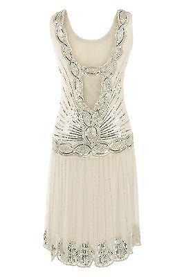 CREMA lentejuelas CHARLESTON aleta GATSBY vestido hermoso ART DECO de los años 1920
