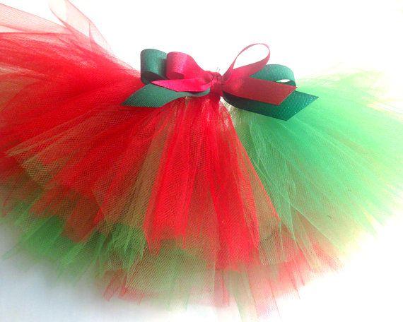 Navidad tutú rojo y verde por Debsimagination en Etsy