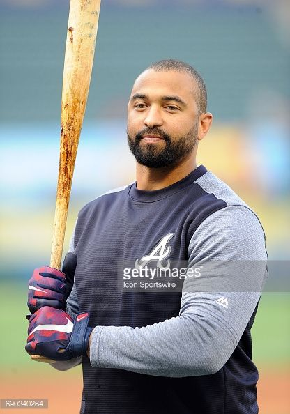 Atlanta Braves designated hitter Matt Kemp on the field during batting practice before a game against the Los Angeles Angels of Anaheim, on May 30 played at Angel Stadium of Anaheim in Anaheim, CA.