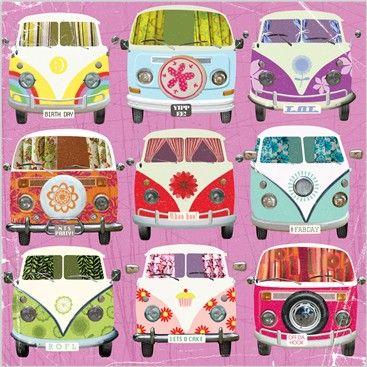 ☯☮ॐ American Hippie Bohemian Psychedelic Art ~ VW Bus pattern
