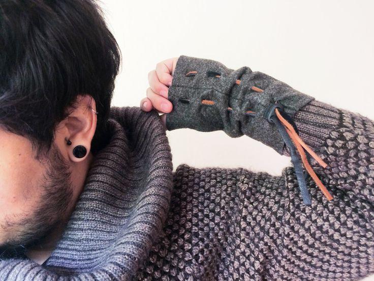 Wrist Warmer, Felt Arm Warmer, Stocking Stuffers for men, Fingerless Gloves, Winter accessoires for men by GipsyJingle on Etsy