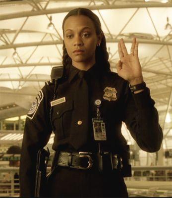 Zoe Saldana in The Terminal.