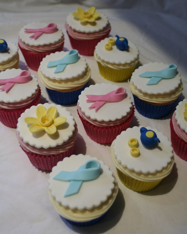 Cancer Council Fundraiser Cupcakes, mix of vanilla cupcakes with vanilla buttercream and strawberry cupcakes with strawberry buttercream including fondant toppers. Blue Ribbon - Prostate Cancer Pink Ribbon - Breast Cancer Daffodil - Cancer Council Logo Tea Pot & Cups - Australia's Biggest Morning Tea