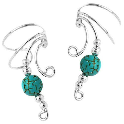 Sterling Silver Left And Right Curly Q Turquoise Bead Ear Cuff Set Auntie's Treasures. $34.94