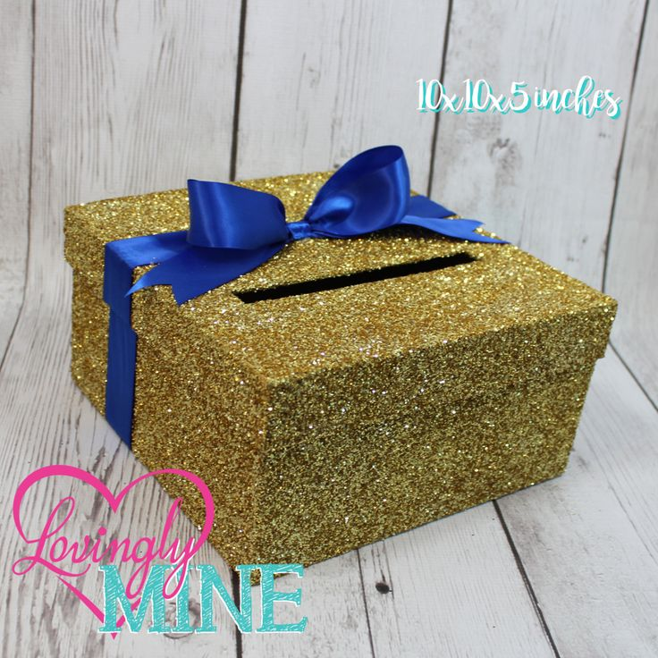 Cardbox -  Glitter Gold and Royal Blue Gift Money Box for Any Event - Royal Baby Shower, Wedding, Bridal Shower, Birthday Party, Sweet 16 by LovinglyMine on Etsy