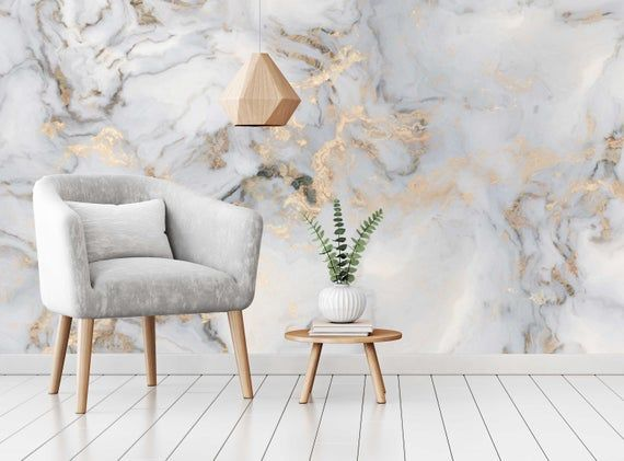 Marble Texture Gray Gold Abstract Design Wallpaper Self Etsy Gold Marble Wallpaper Marble Wall Mural Grey And Gold Wallpaper