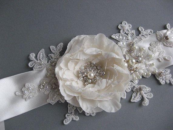 Ivory Wedding sash Bridal dress sash accessory  by LeFlowers, $70.00