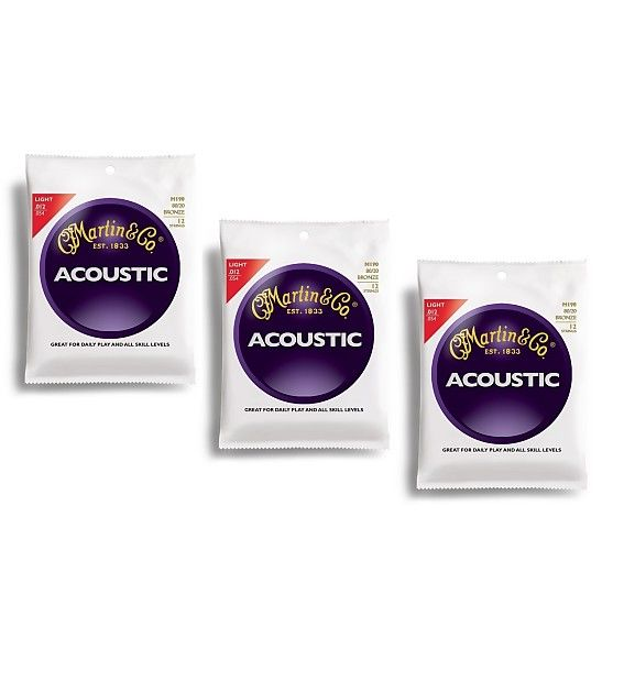 3-Pack Martin Traditional 80/20 Bronze Light 12 String Acoustic Guitar Strings 12-54.Martin Traditional strings are our flagship line that stands the test of time. Tried and true, they are designed to deliver consistent quality and tone with every set. Great for daily play and appropriate for all skill levels, our traditional strings are available in 80/20 Bronze, 92/8 Phosphor Bronze and Silk & Steel Folk.Set: M190 Gauge: Light 12-16-25-32-42-54 Gauge: Light 10-14-10-12-18-27 Tension: 3