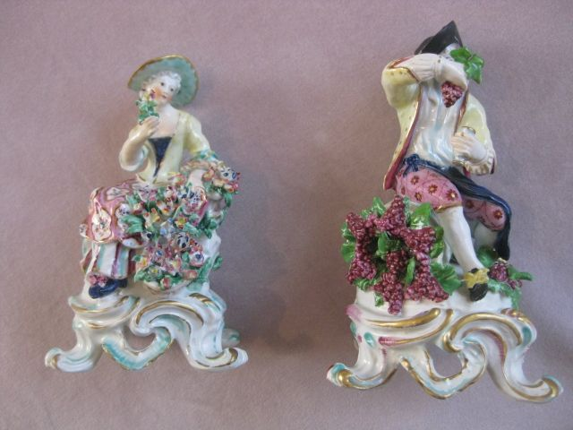 """A  pair of Bow figures representing Spring &  Autumn from a set of the Rustic Seasons set on a rococo shaped base.  Unmarked   Circa  1765 Height 6 1/2"""""""