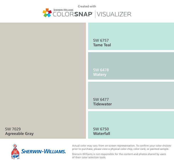 I found these colors with ColorSnap® Visualizer for iPhone by Sherwin-Williams: Agreeable Gray (SW 7029), Tame Teal (SW 6757), Watery (SW 6478), Tidewater (SW 6477), Waterfall (SW 6750).
