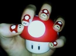 Mario Mushrooms Nails