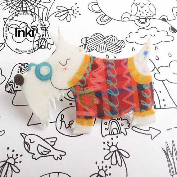 Mr Scruffy Scottie Dog Shrink Plastic Brooch by Inkishop on Etsy, £5.00