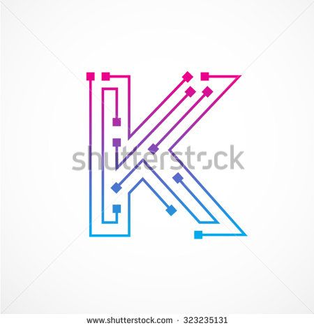 Abstract letter K logo design template,technology,electronics,digital,dot connection cross vector logo icon logotype - stock vector