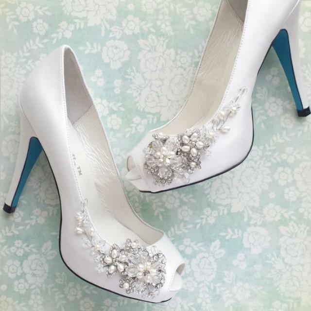 something blue wedding shoes with handmade crystal blossom weddbook wedding shoes fashion