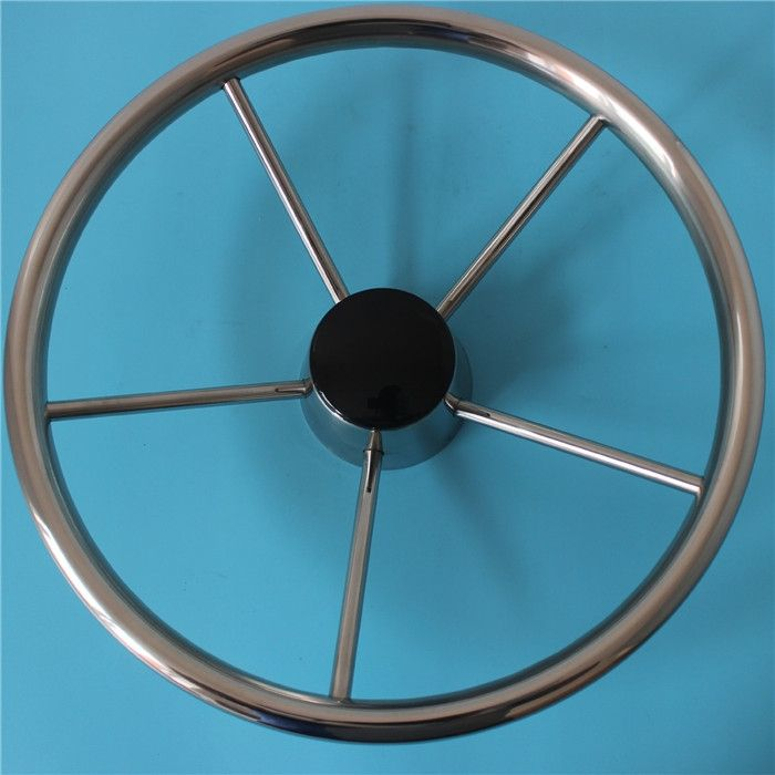 10'' 5 Spoke Destroyer Style Stainless Steel Boat Steering Wheel