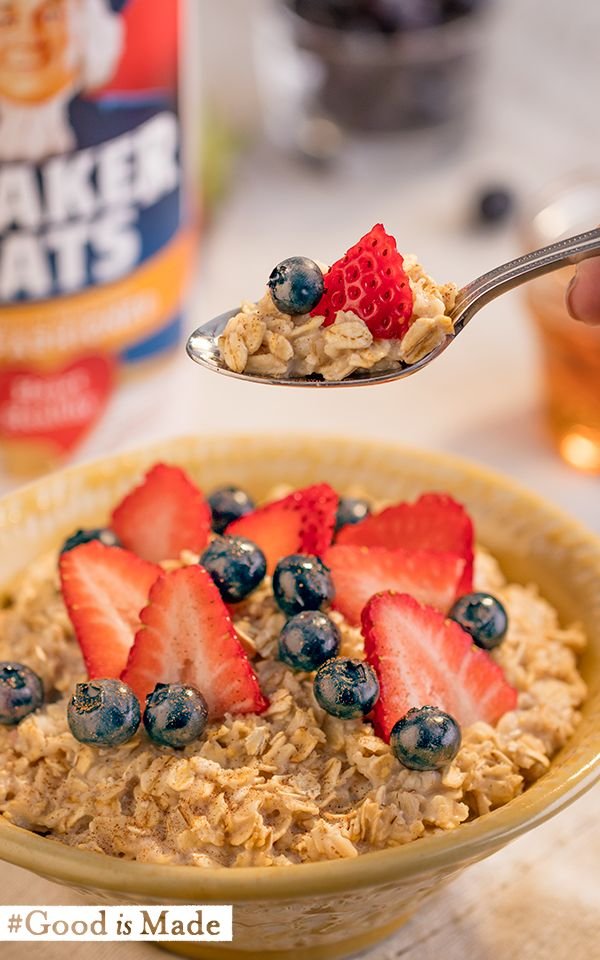 Sliced strawberries and blueberries = an easy way to add some great flavor to Quaker® oatmeal. #GoodIsMade