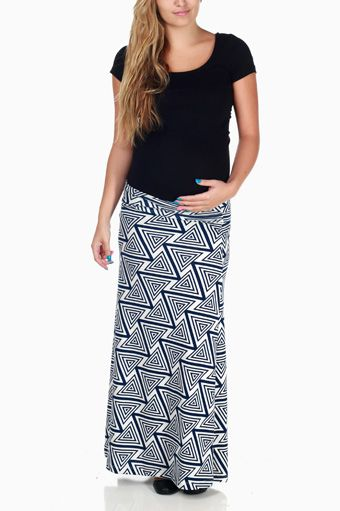 Blue White Triangle Print Maternity Maxi Skirt
