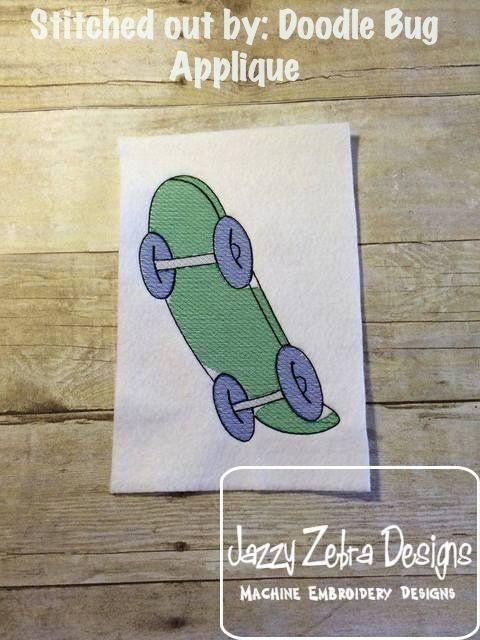 Skateboard Sketch Embroidery Design: Jazzy Zebra Designs