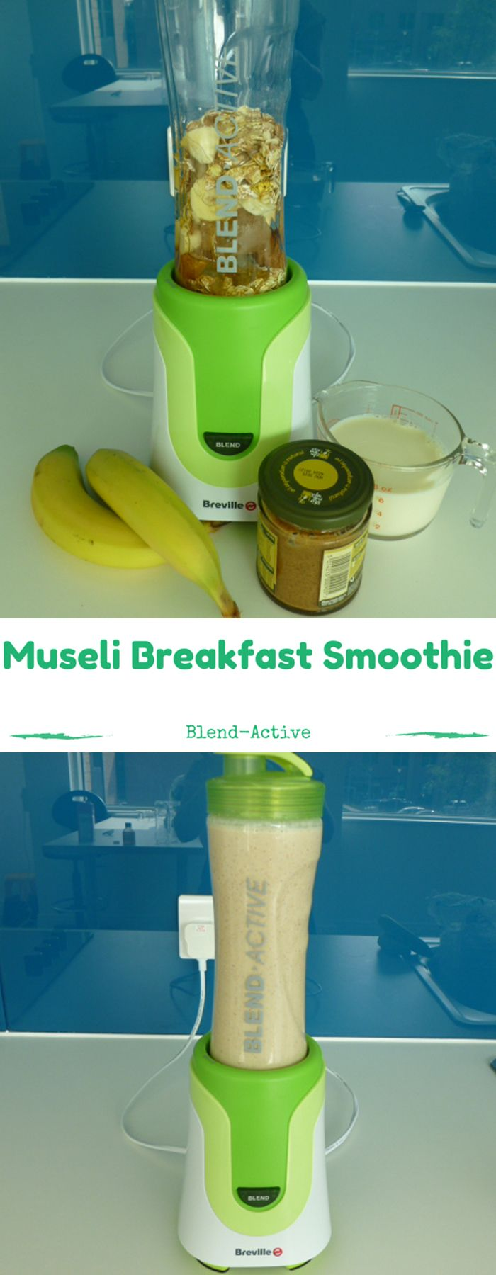 Blend-Active Museli Breakfast Smoothie recipe   http://www.turnonyourcreativity.com/recipes/museli-breakfast-smoothie-with-peanut-butter-and-soy-milk
