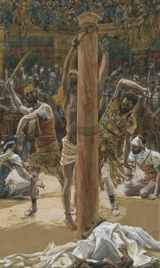The Scourging on the Back by James Tissot {c.1886-94} ~ Jesus