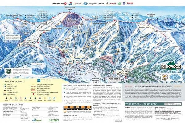 Ski Tahoe Kirkwood Ski Resort Ca Usa 2014 Trail Map