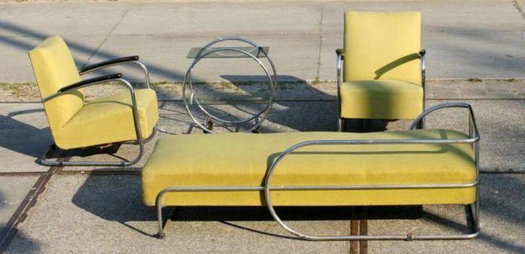 Museaal! Bauhaus sofa, fauteuils en tafel jaren '30/ '40