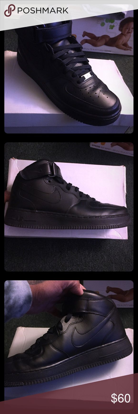 Nike Air Force One Mids All Black , worn a couple of times fits me big,  , $50 Pay pal Nike Shoes Sneakers