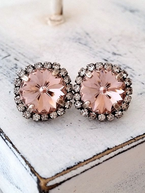 Blush pink crystal earrings | Blush pink Swarovski crystal stud earrings by EldorTinaJewelry | http://etsy.me/1FYeUIJ