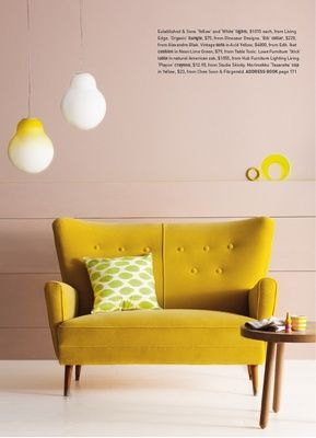 Yellow Retro Sofa - From Inside Out magazine (Australia) Nov/Dec 2011: Vintage Sofa from Edit. Styling by Vanessa Colyer Tay. Photography by Sam McAdam.